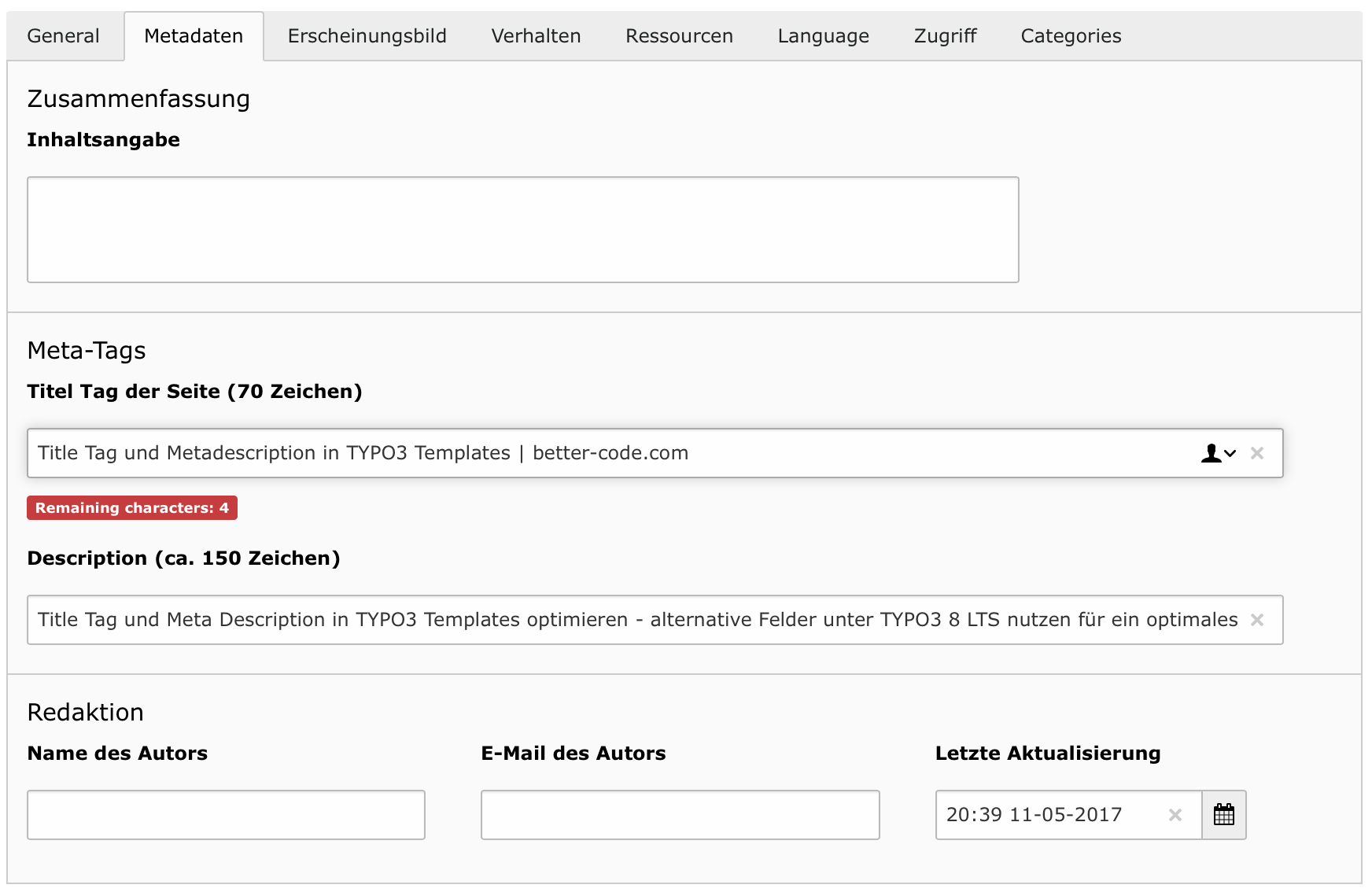 e88df5d73 Title Tag und Metadescription in TYPO3 Templates